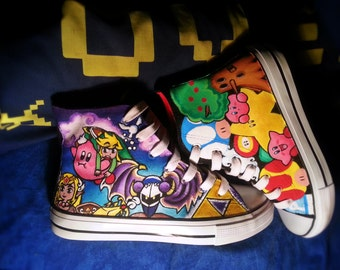 Nintendo Characters Zelda ,Super Mario and Kirby- Hand Painted Sneakers