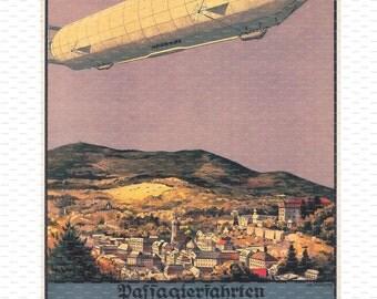 "Zeppelin. ""Luftschiff Zeppelin"". Germany. Aviation Poster"