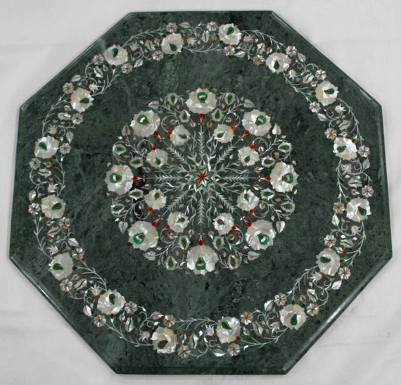 Marble Inlay Table Tops : Marble inlay work coffee table top hand made semiprecious