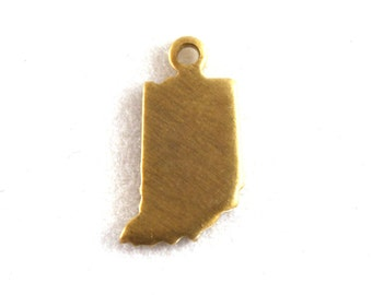 6x Blank Brass Indiana State Charms - M073-IN
