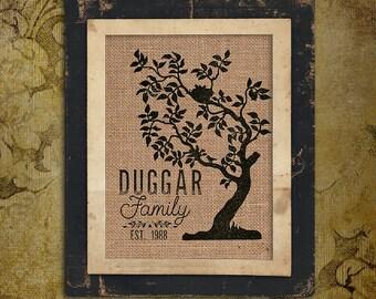Burlap Print | Personalized | Family Tree | Est Date |#0001