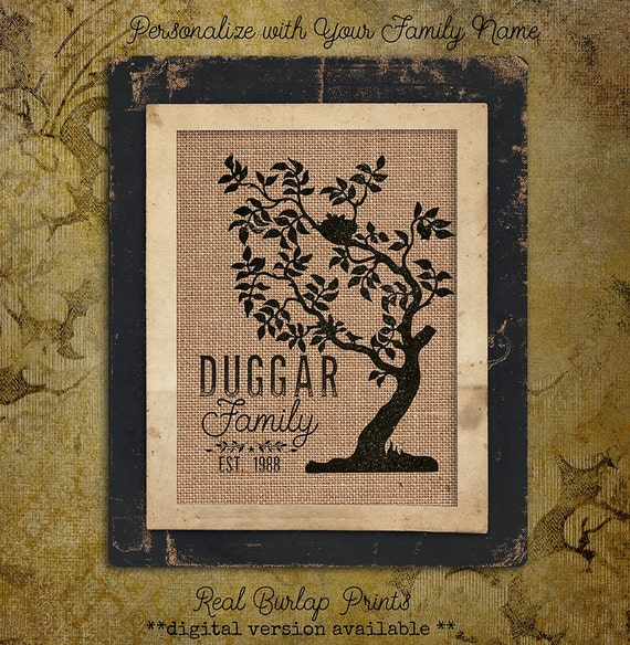 Family Tree | Est Date | Burlap Print | Personalized | #0001