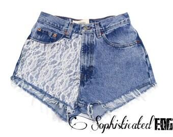 SALE! Floral Lace High Waisted Festival Denim Shorts- Coachella/Rave/EDC [Plus Size Available!]