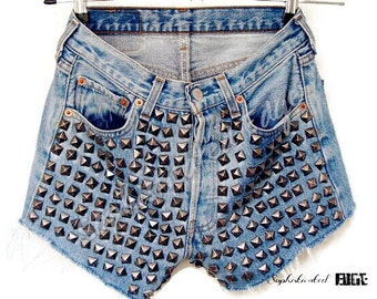 Hipster Please High Waisted Studded Denim Shorts Plus Size Available