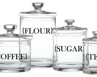 Kitchen Canister Label Decals - Pack of 4