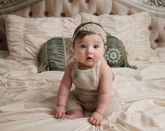 Marcella Gorgeous Rhinestone and Beaded Headband Halo Tiara Beautiful Newborn Photo Prop Baby Headband