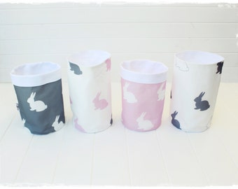 Pink & Grey Bunny Fabric Baskets