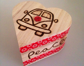 VW Camper Heart Trinket box with vintage button and decoupage