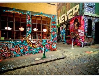 Hosier Lane, Melbourne, Graffiti Art Work, Graffiti Art Decor, Home Decor, Graffiti Wall Art Grunge, Graffiti Art Photography, Graffiti Lane