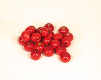 100pc red round wooden beads (BC274)