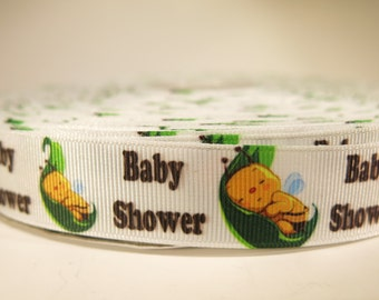 "5 yards of 7/8 inch ""Babyshower"" grosgrain ribbon"