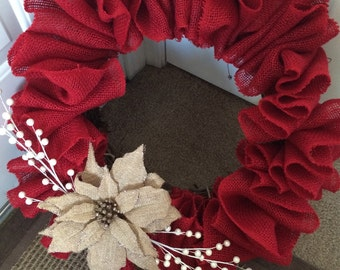 Red Burlap Poinsettia Wreath