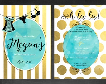 Bachelorette Party Invitation, striped turquoise white and gold lingerie shower printable invitation, digital file