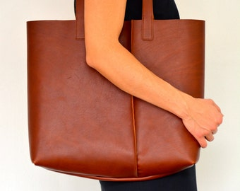 Large Leather Tote No.1 in Cognac Brown. SHIPS FREE WORLDWIDE! Large minimalist vegetable tanned leather tote bag by halfmoon