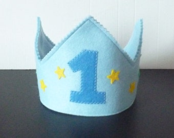 Boys 1st Birthday crown, felt crown, any age Felt Birthday crown, blue crown, boys Birthday cake smash crown