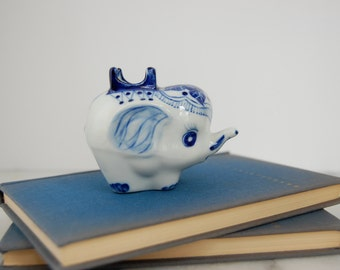 Blue and White Elephant - Porcelain Elephant - Blue and White Elephant Figurine