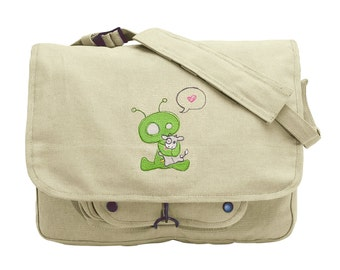 Abducted Alien Embroidered Canvas Messenger Bag