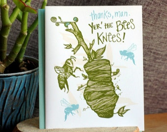 Bees Knees Thank You Greeting Card
