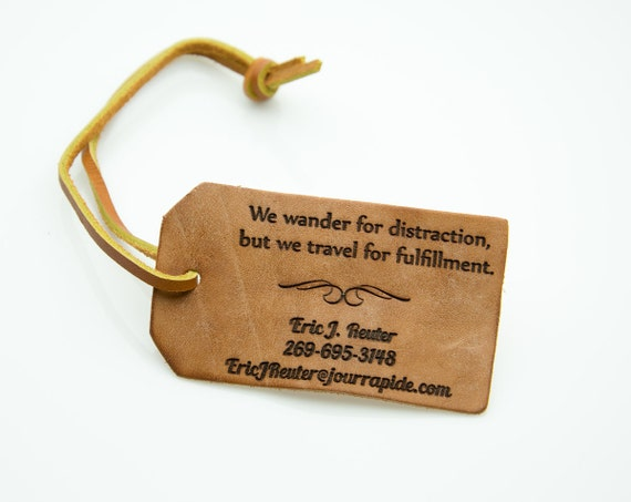 Personalized Luggage Tags Wedding Gift: Tanned Leather Personalized Luggage Tag Contact Information