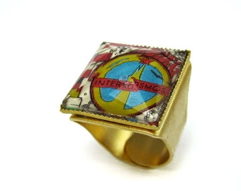 """Gold plated checkoslovakia post office stamp ring with plastic """"crystal"""" cover , handmade, one of a kind, ethnic colors"""