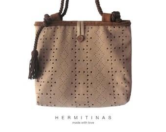 Brown  Shoulder Bag OOAK Handmade Brown Bag Brown Handbag Handmade Brown Tote Bag Hand Sewn Brown Tote Suedette Brown Bag Fake suede .