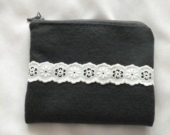 Charcoal felt Coin purse, Handmade grey coin Purse, Zipper Wallet, grey fabric sanitary pouch, fabric phone case, grey Zipper sanitary pouch