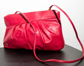 Free Ship Phillippe Genuine Red Leather Shoulder Bag Purse