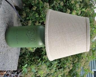 Unique Green Mason Jar Lamp, Ball Jar Lamp, Rustic Mason Jar Decor, Country Chic Lamp, Kitchen Decor