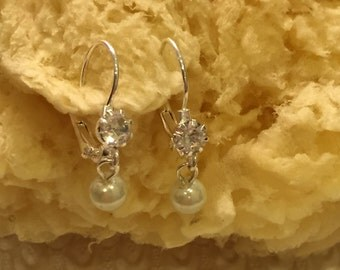 White Pearl Rhinestone  Leverback Rhinestone Earrings