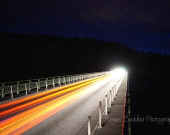 Deception Pass, WA - Headlight Trails over Bridge into Nothing