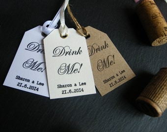 Personalised Wedding 'Drink Me' Favour Tags - Vintage