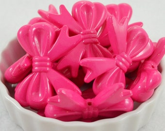 46mm Acrylic Bow Beads, 4ct, Imperfect Discount, Hot Pink