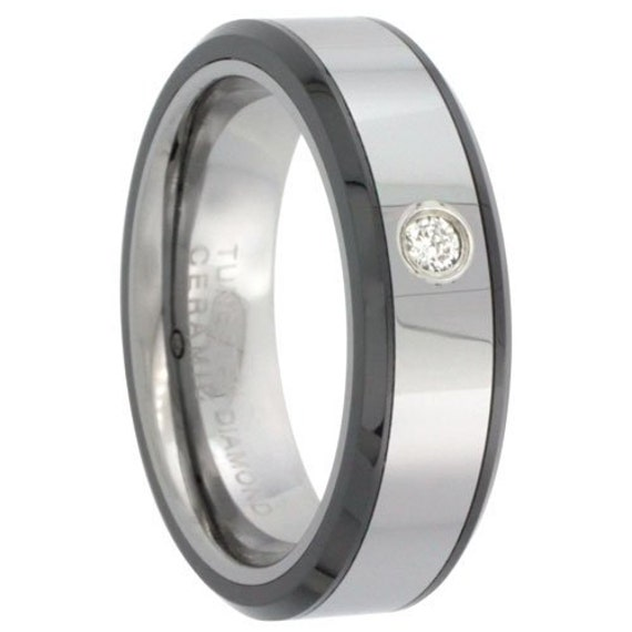 Black Wedding Rings For Him Tungsten Diamond Wedding Band For Him Her Cttw Beveled Black