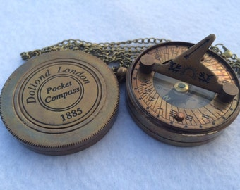 Antique Finish Brass Sundial Compass w/ Chain - Pendant / Keychain - Hiking Camping
