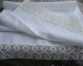 WHITE LINEN Table runner natural Linen runner organic linen runner with linen lace linen and lace