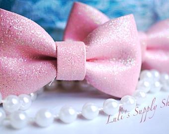 "Set of 2 - Glitter Bows - Hair Accesories - Hair Bows - 3"" Glitter bows Unfinished Glitter bows - Light Pink Glitter Bows, Bows for Headband"