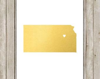 8x10 Kansas State Print, Geography Wall Art, Metallic Gold Art, Kansas Poster, Office Art Print, Home Decor, Instant Digital Download