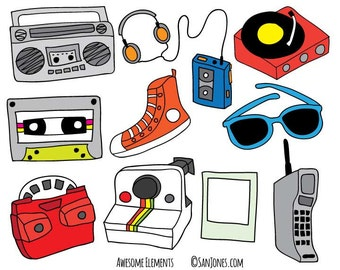 Hand Drawn Clipart / Clip Art - Totally Awesome 80's Clip Art