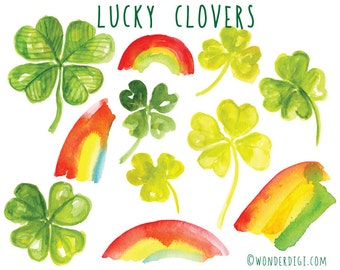 St Patricks Day Clipart - Watercolor Clipart - Lucky Four Leaf Clover Clip art Watercolor Illustration