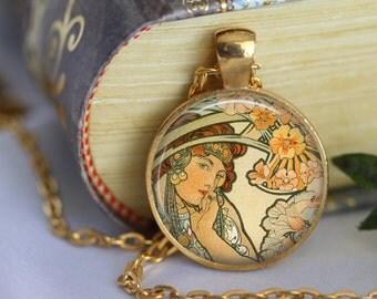 Alphonse Mucha Pendant Necklace Art Nouveau Glass Pendant Handmade Mucha Jewerly Mucha Jewellery