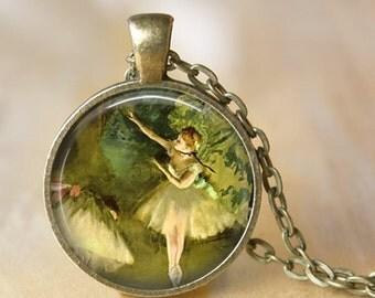 BALLET Necklace by Edgard Degas Pendant Necklace Art Literary Jewerly for Dancer Ballerina  Handmade Glass Pendant (209)