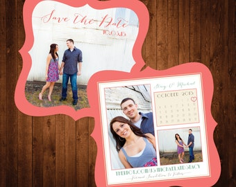 5x5 Die Cut Save the Date in Coral, Mint and Ivory with Beautiful Script Font