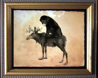 Newfie Newfoundland Riding Moose - Vintage Collage Art Print on Tea Stained Paper - Vintage Art Print - Vintage Paper