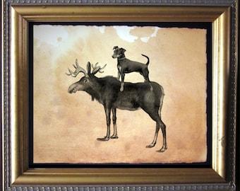 Miniature Pinscher Min Pin Riding Moose - Vintage Collage Art Print on Tea Stained Paper - Vintage Art Print - Vintage Paper