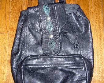 Vintage Black Leather Backpack Santa Fe Style
