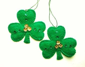Felt St. Patrick's Day Decoration, St. Patrick's Day Shamrock Ornament Set, Felt Shamrock Ornaments