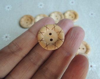 10Pcs  high quality 20mm boxwood button 2 holes No varnish  ( W923)