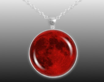 """The Blood Red Moon of Earth Solar System 1-1/4"""" Pendant Cable Chain Necklace in Silver Tone"""