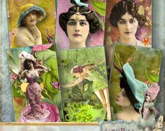 "Bohemian Ladies - 1x2"" dominoes - Digital Collage Sheet (095) - instant download"