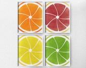Citrus Print, Citrus Decor, Fruit Kitchen Art, Kitchen Decor, Kitchen Poster, Food Art, Kitchen Print, 4 Set Fruit Art, Modern Decor, 0020